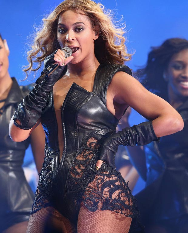Beyonce black leather bodysuit Super Bowl performance