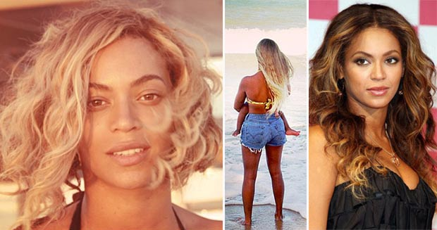 Beyonce blonde hair vs dark hair