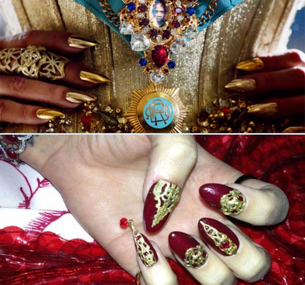Beyonce golden nails Mrs Carter Katy Perry nail art Killer Queen