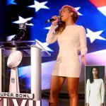 Beyonce Gulsen white mini dress Super Bowl press conference