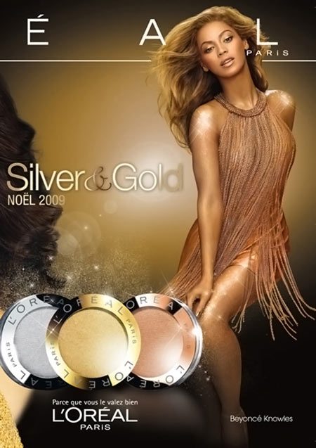 Beyonce's L'Oreal Silver And Gold Christmas Collection Ad
