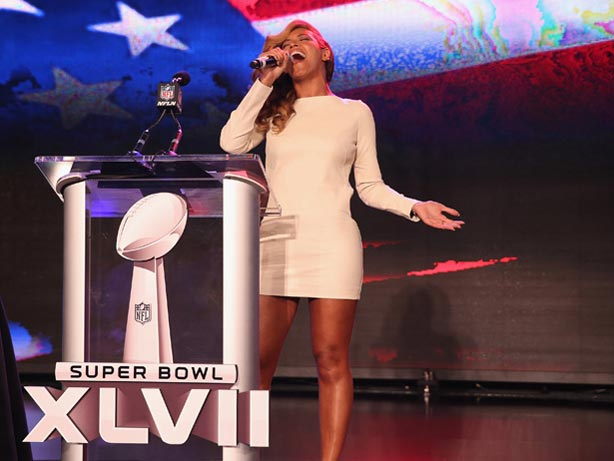Beyonce singing live Super Bowl press conference