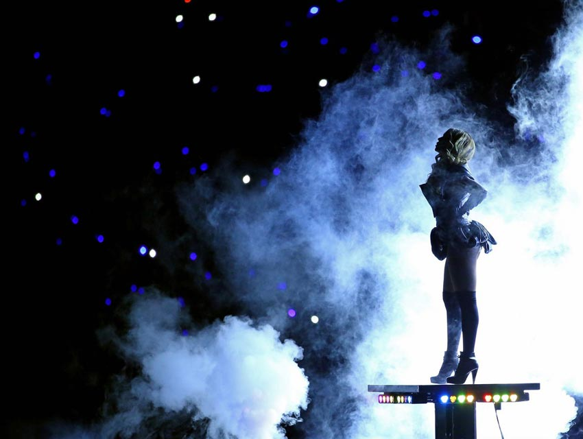 Beyonce Super Bowl halftime shows on stage