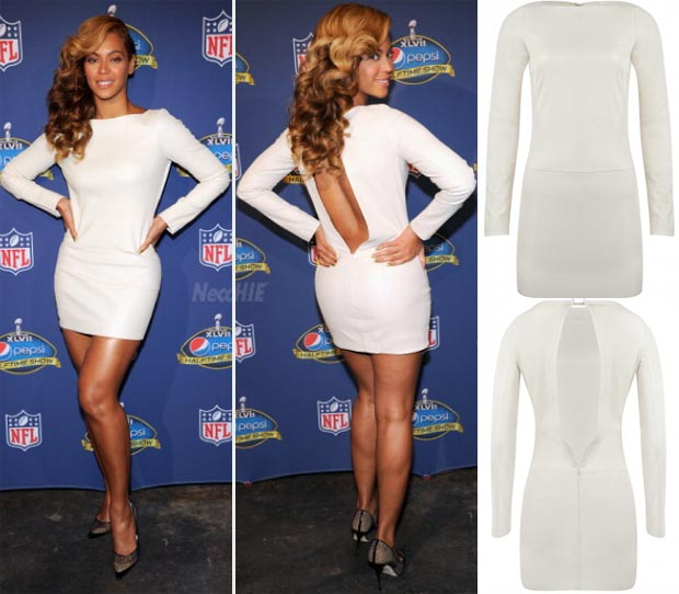 Beyonce white open back dress Super Bowl press conference