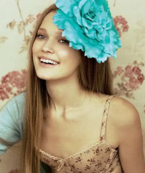 Big Teal flower headpiece