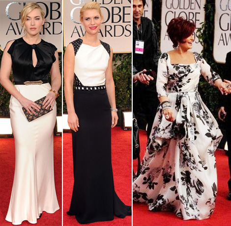 black and white 2012 Golden Globes dresses Kate Winslet Claire Danes Sharon Osbourne