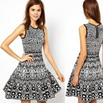 black and white graphic knit dress