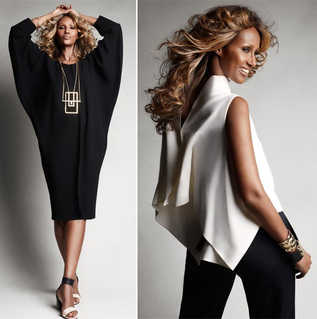 black and white wardrobe Iman