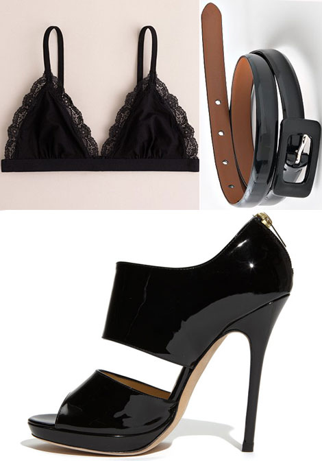Black bra black skinny belt black patent sandals
