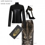 black cocktail fall outfit inspired by Karlie Kloss