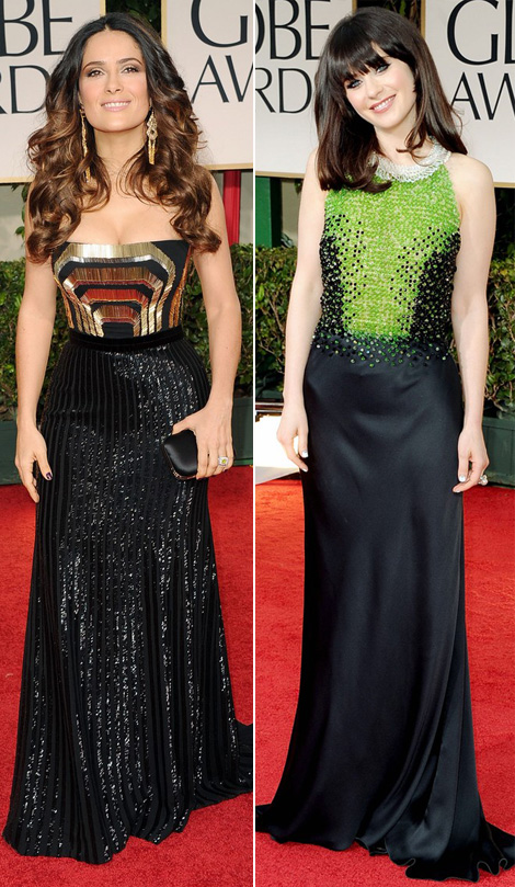 black dresses with embroidered top 2012 Golden Globes Salma Hayek Zooey Deschanel
