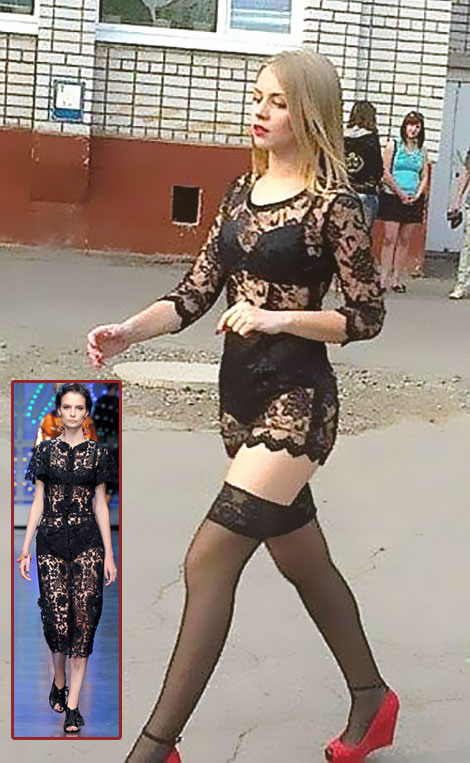 black lace graduation dress Ukrainian Anastasia