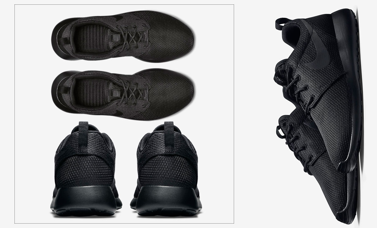 black mesh sneakers Nike Roshe One details
