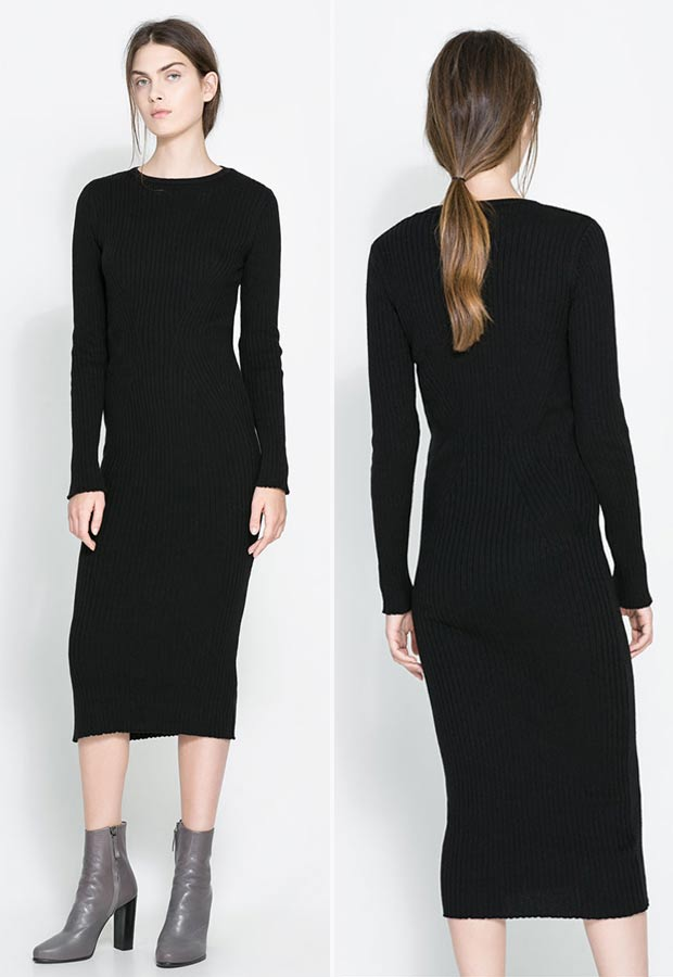 black mid length sweater dress