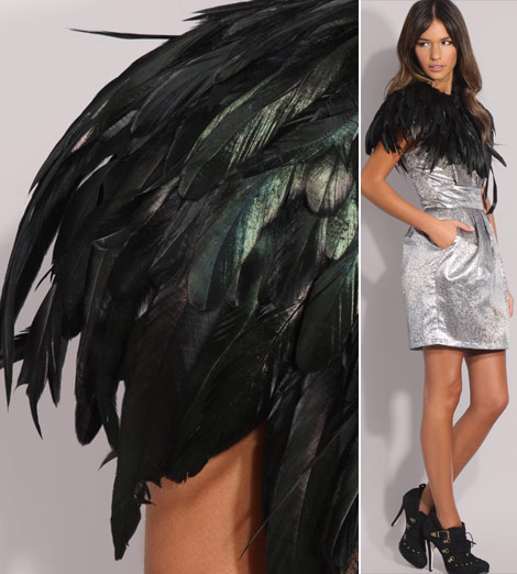 Black natural feathers cape