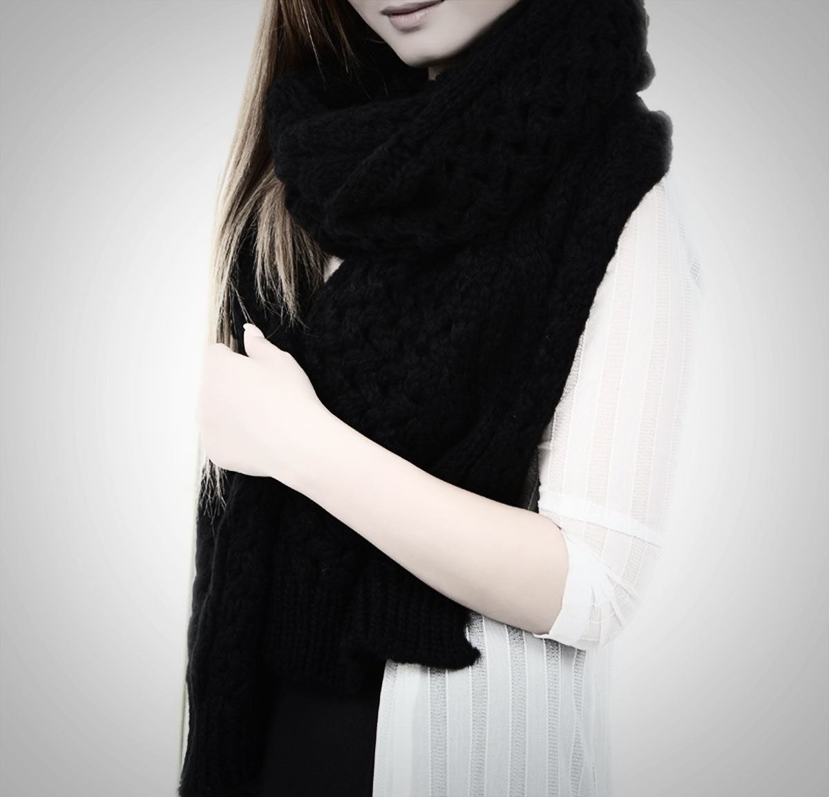 black oversized knitted scarf