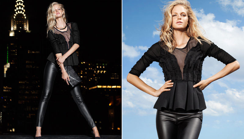 black pants black top night party attire H and M