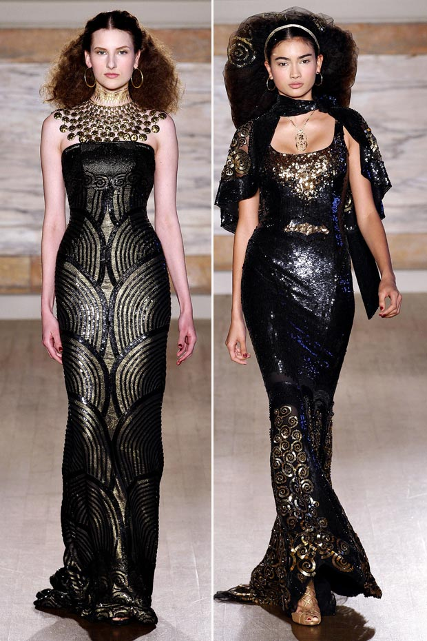 black sequined dresses LWrenn Scott fall 2013 collection