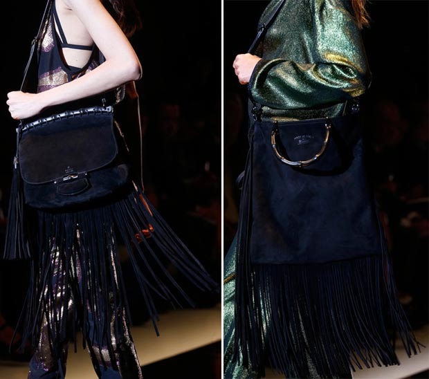 black suede fringed bags Gucci Spring 2014