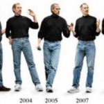 black turtleneck blue jeans new balance sneakers Steve Jobs