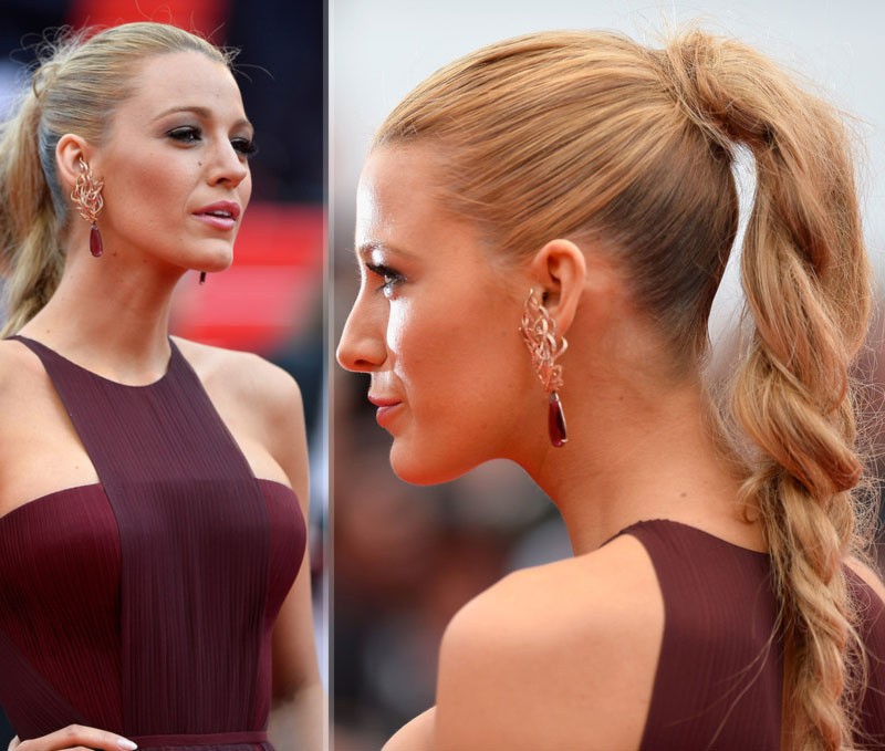 Blake Lively Cannes hair makeup Gucci dress