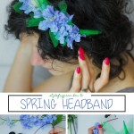 blue flowers spring headband DIY