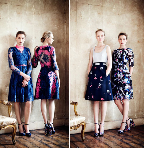 blue lace and flower prints Erdem Resort 2013 collection