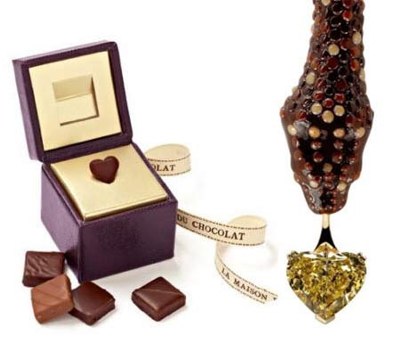 Boucheron La Maison du Chocolat Snake Necklace Diamond and diamond shaped chocolates