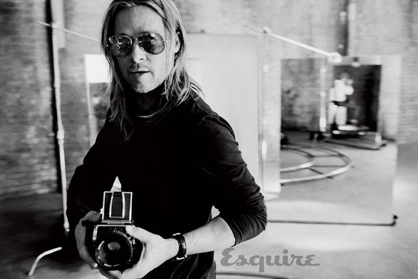 Brad Pitt black and white for Esquire