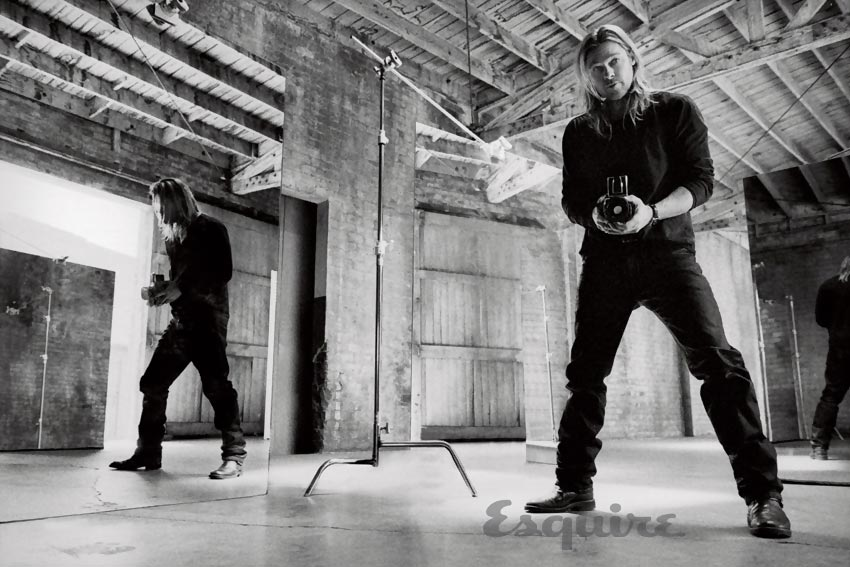 Brad Pitt photographing for Esquire