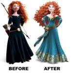 Brave Merida before and after Disney makeover