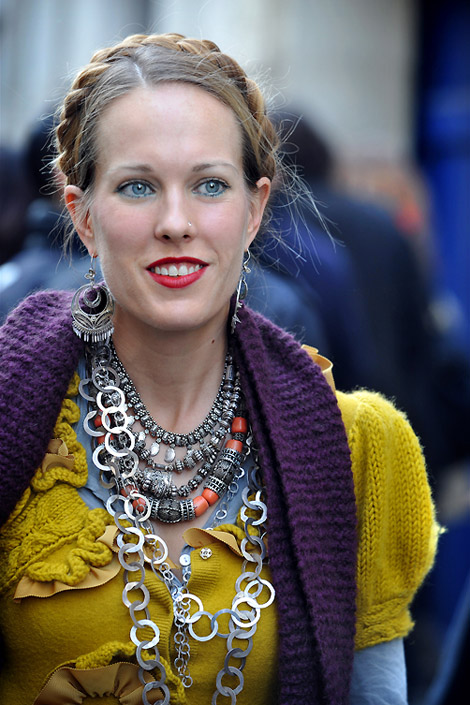 Bright Outfit Multiple Strands of necklaces