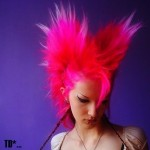 bright pink punk hair