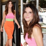 bright summer outfit Sandra Bullock Alex Perry dress Venice