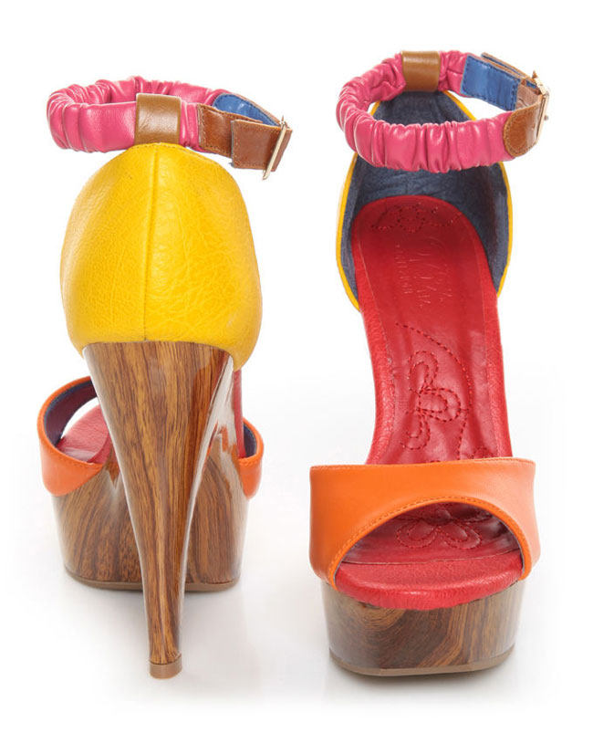 brightly colored platform heels