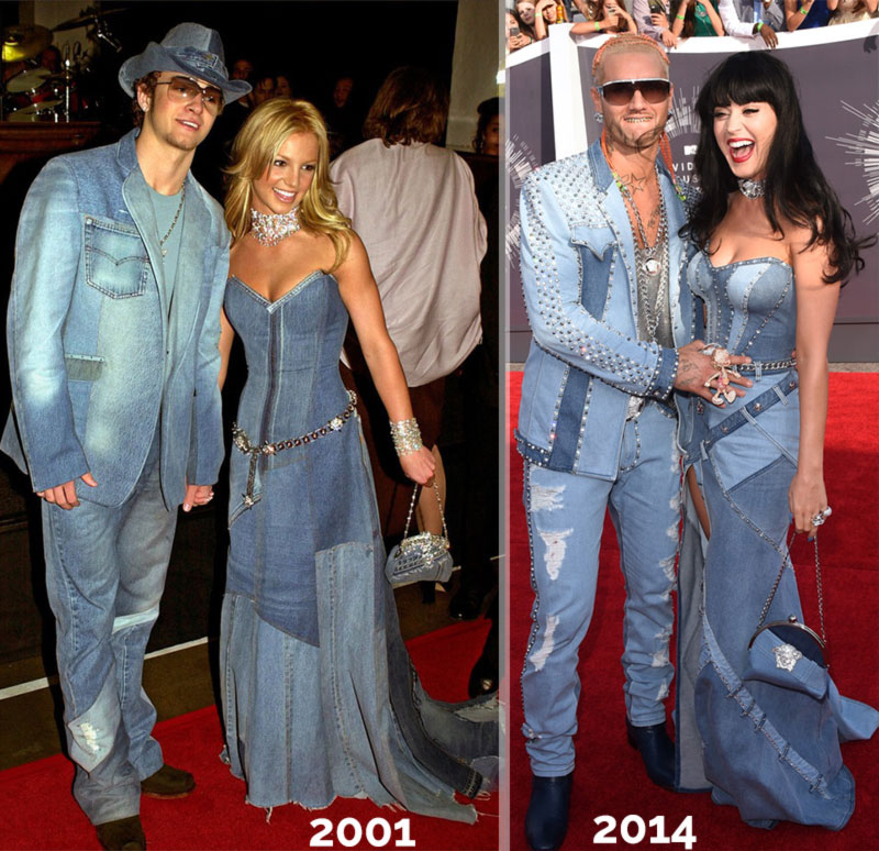 Britney Spears Justin Timberlake denim VMAs 2001 Katy Perry denim MTV VMAs 2014