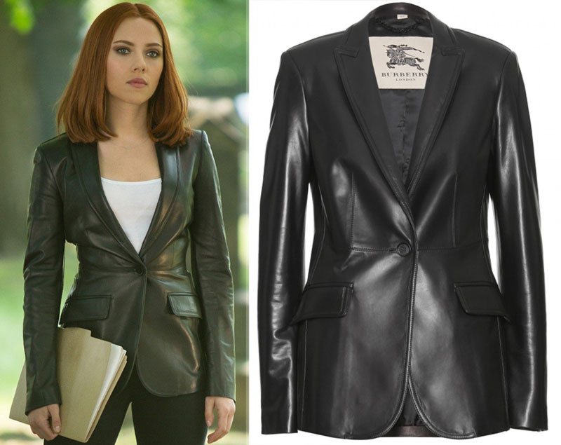 Burberry leather jacket as worn by Scarlett Johansson Captain America