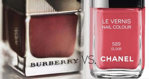 Burberry red nail polish Chanel pink nail polish