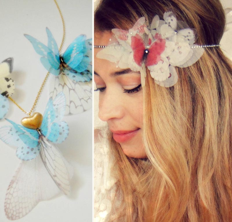 butterfly necklace headband Jewelera Derya Aksoy