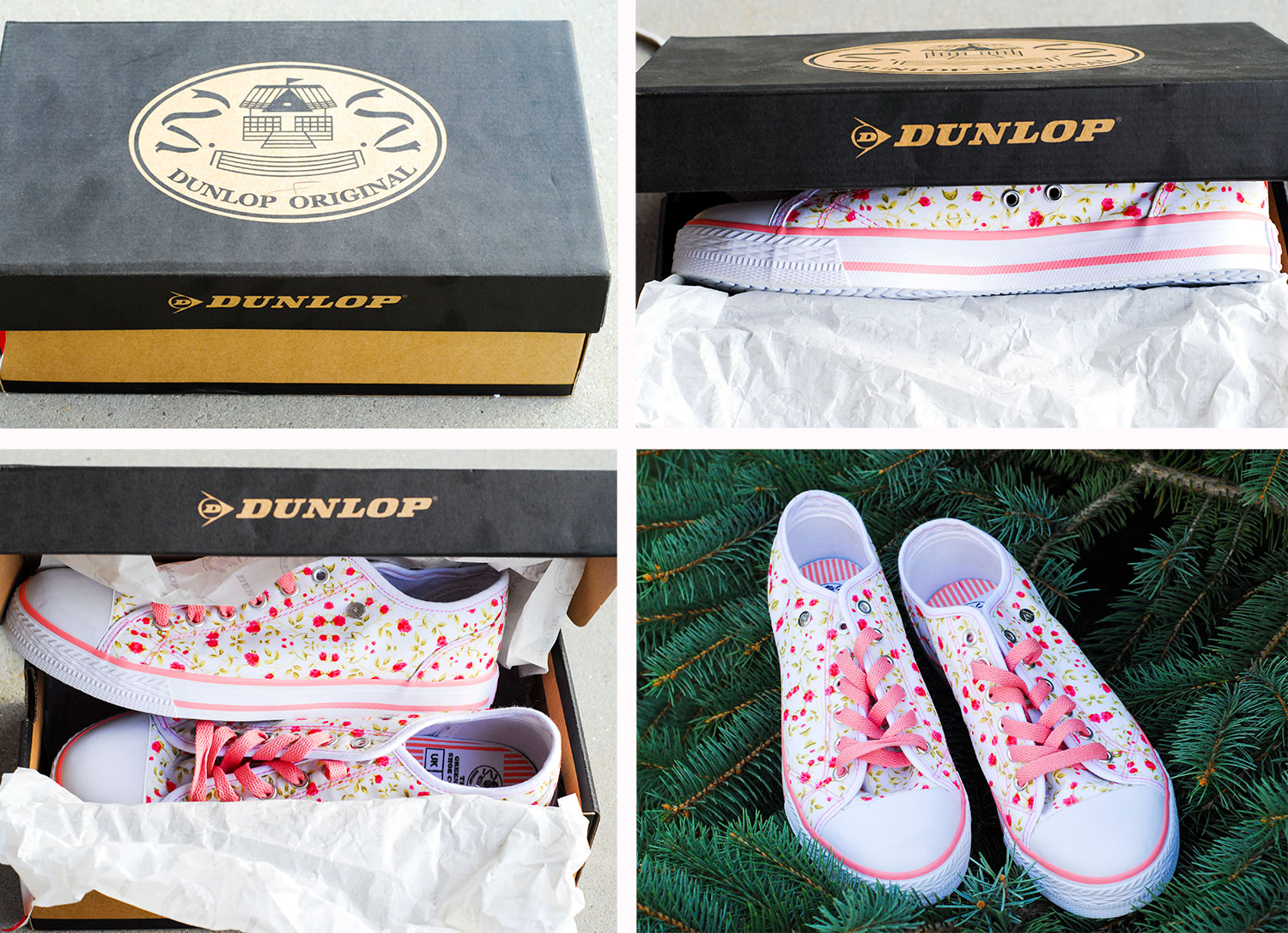 canvas sneakers flowers Dunlop