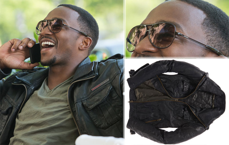 Captain America the Falcon Saint Laurent sunglasses Superdry leather jacket