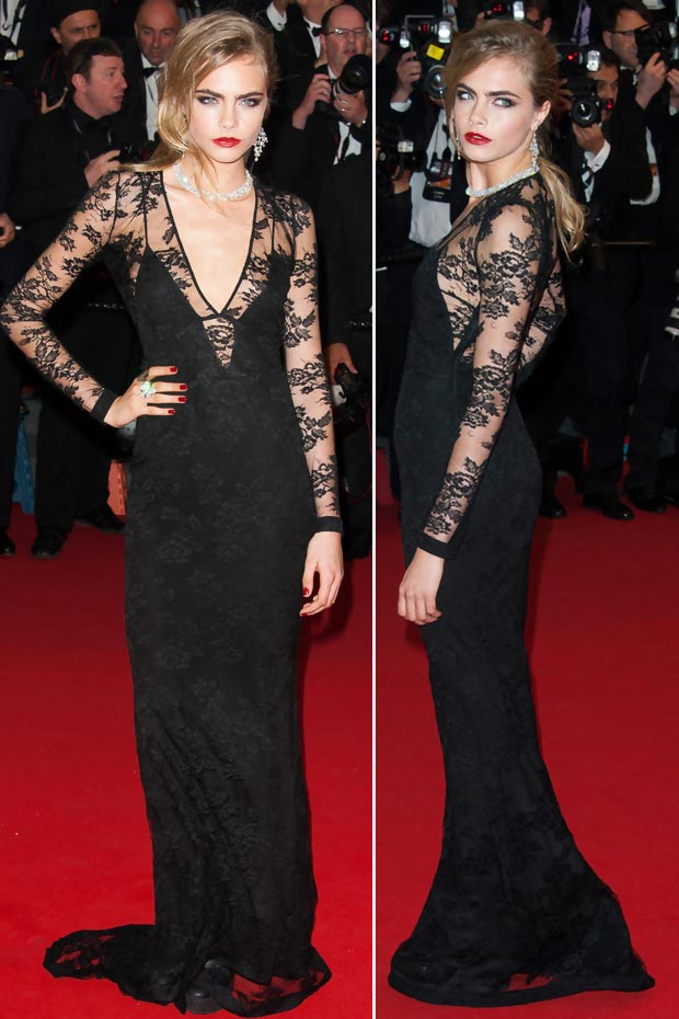 Cara Delevingne black lace dress Cannes 2013 Red Carpet