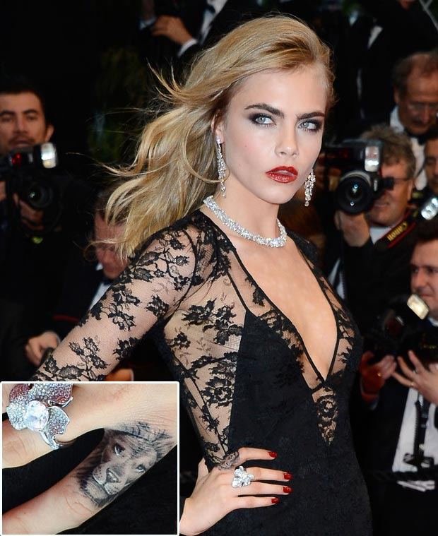 Cara Delevingne Cannes Festival 2013 Red Carpet tattoo