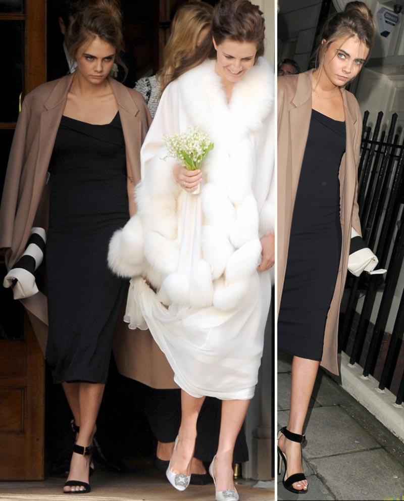 Cara Delevingne dress at sister Chloe wedding
