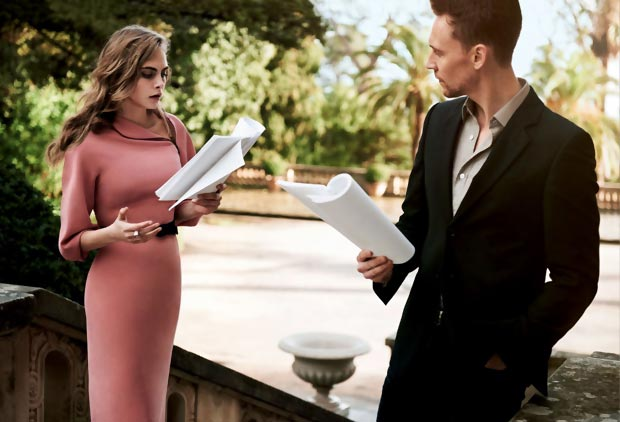 Cara Delevingne Tom Hiddleston coupled up in Vogue pictorial