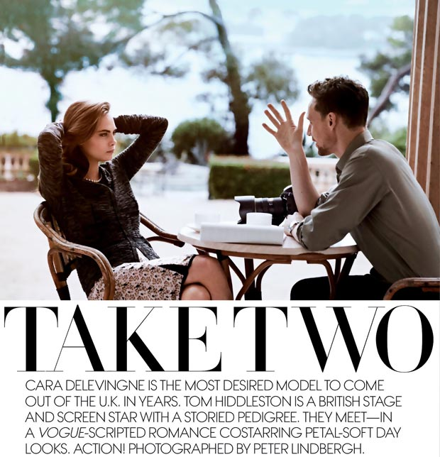 Cara Delevingne Tom Hiddleston coupled up in Vogue