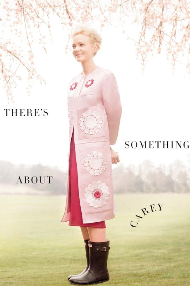 Carey Mulligan pink Prada dress wellies magazine pictorial