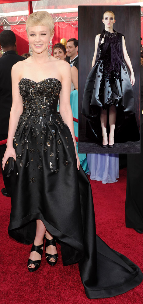 Carey Mulligan Prada black dress 2010 Oscars
