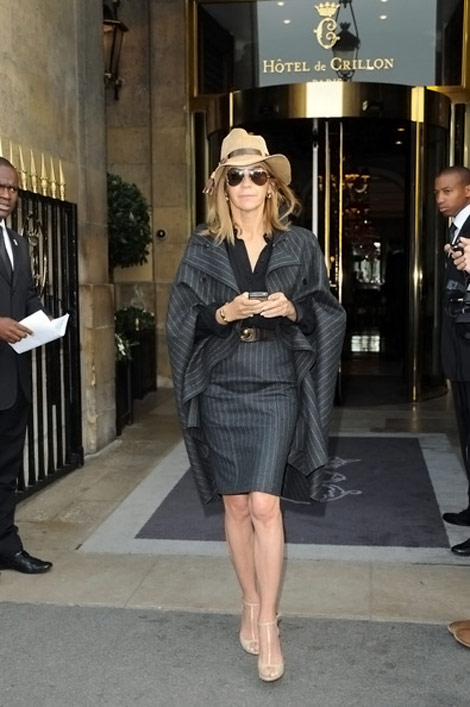Carine Roitfeld Stripes Suit and cape
