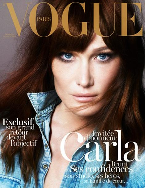 Carla Bruni Guest Edits & Covers Vogue Paris December January 2012 2013